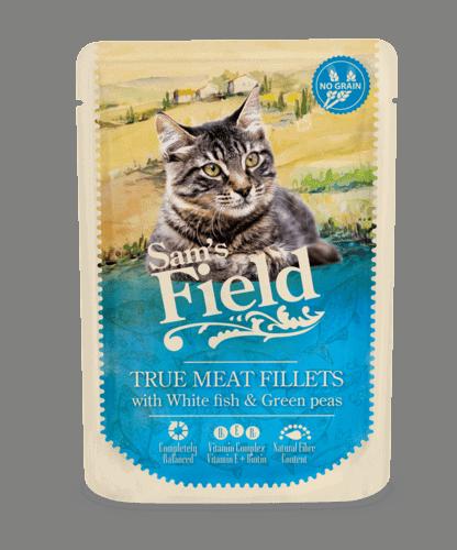 Sams Field Kat True Meat Fillets Hvidfisk Og Grønne Ærter 85g