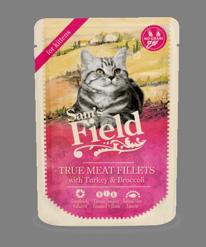 Sams Field Kat True Meat Fillets Kalkun Og Broccoli 85g