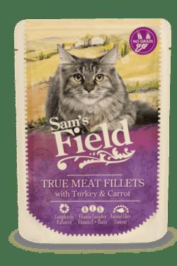 Sams Field Kat True Meat Fillets Kalkun Og Gulerød 85g