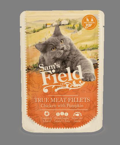 Sams Field Kat True Meat Fillets Kylling Og Græskar 85g